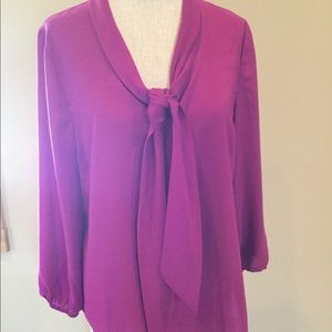 Cynthia Rowley Tie Front Blouse Rose Magenta L